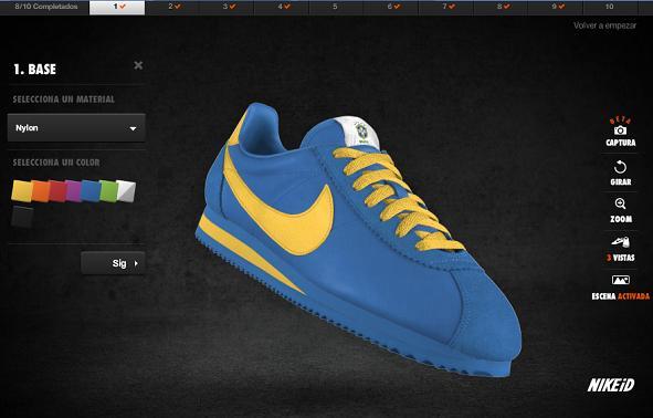 1) Elegir base y color de la zapatilla: opto por base de nylon y color azul  marino medianoche.